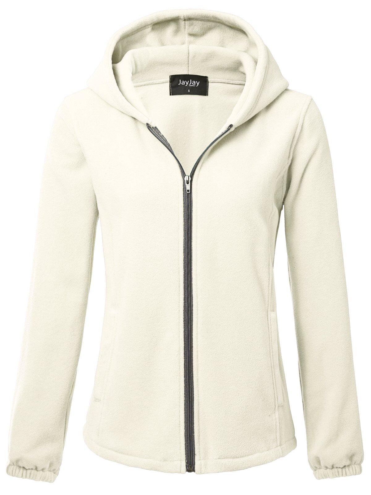 JayJay Women Ultra Soft Fleece Long Sleeve Hoodie Jacket,Beige,M