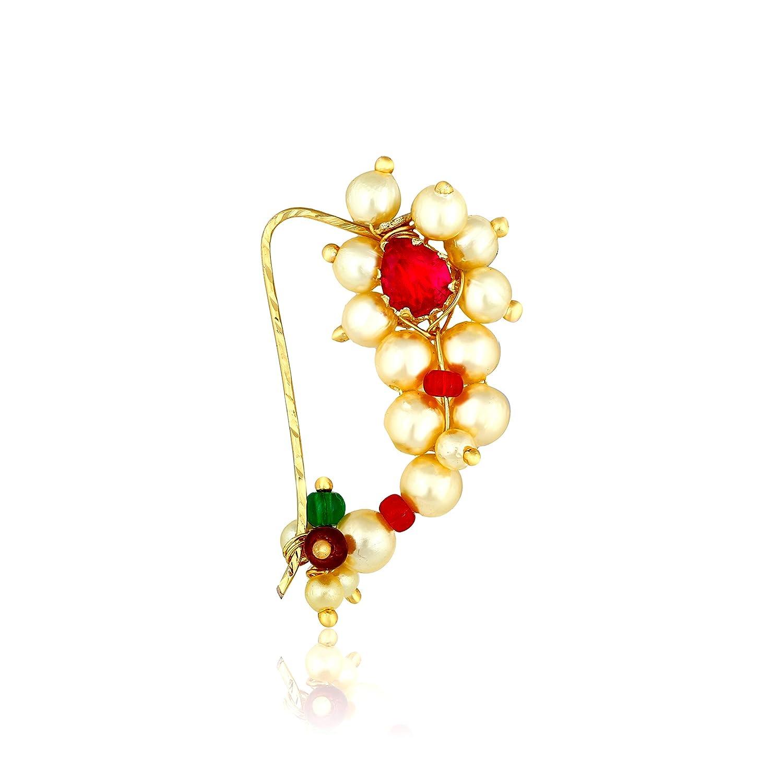 Buy Amaal Traditional Maharashtrian Nath Jewellery Pearl Gold Nath