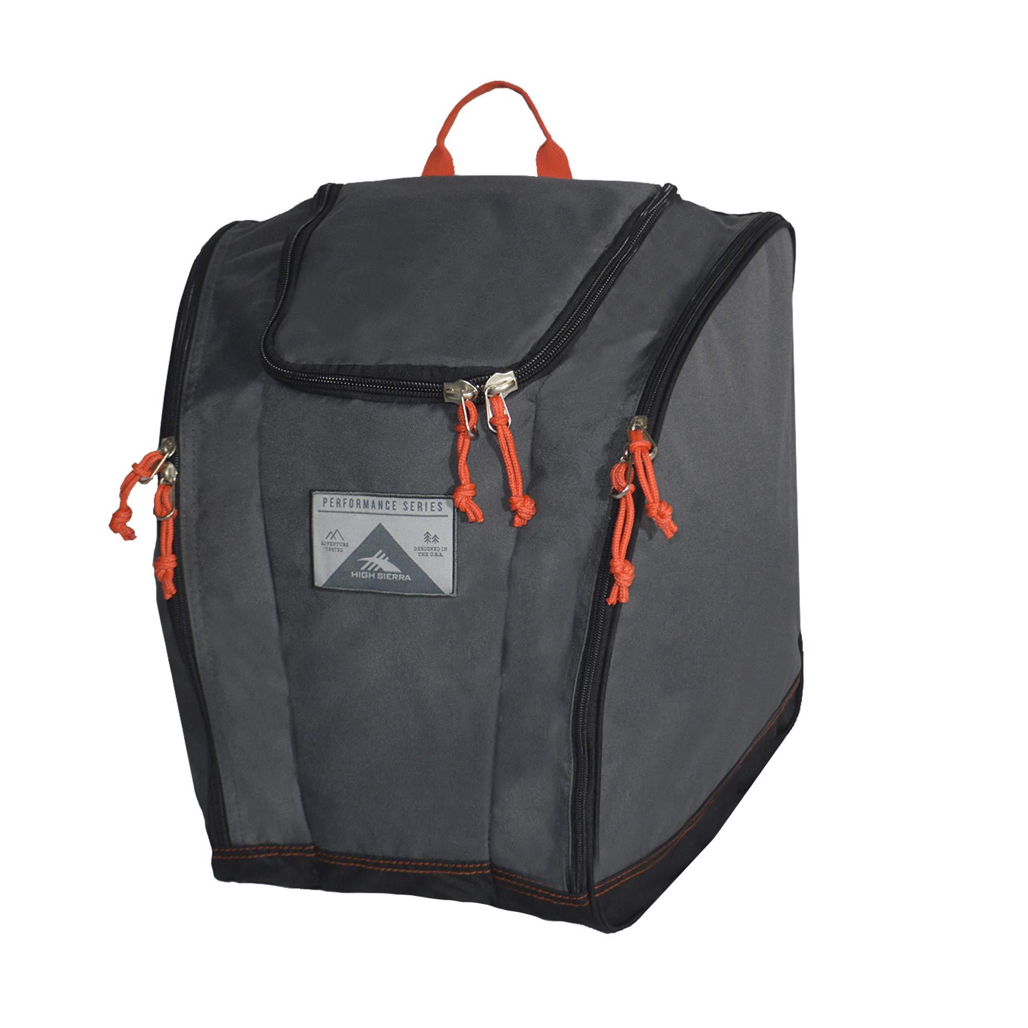 High Sierra Ski Boot Trapezoid Boot Bag, Mercury/Black/Red Line by High Sierra