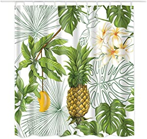 Dodou Shower Curtain Pineapple Tropical Plant Pattern Garden Theme Digital Printing Waterproof Polyester Shower Curtain(72