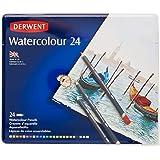 Derwent Colored Pencils, WaterColour, Water Color Pencils, Drawing, Art, Metal Tin, 24 Count (32883),Multicolor