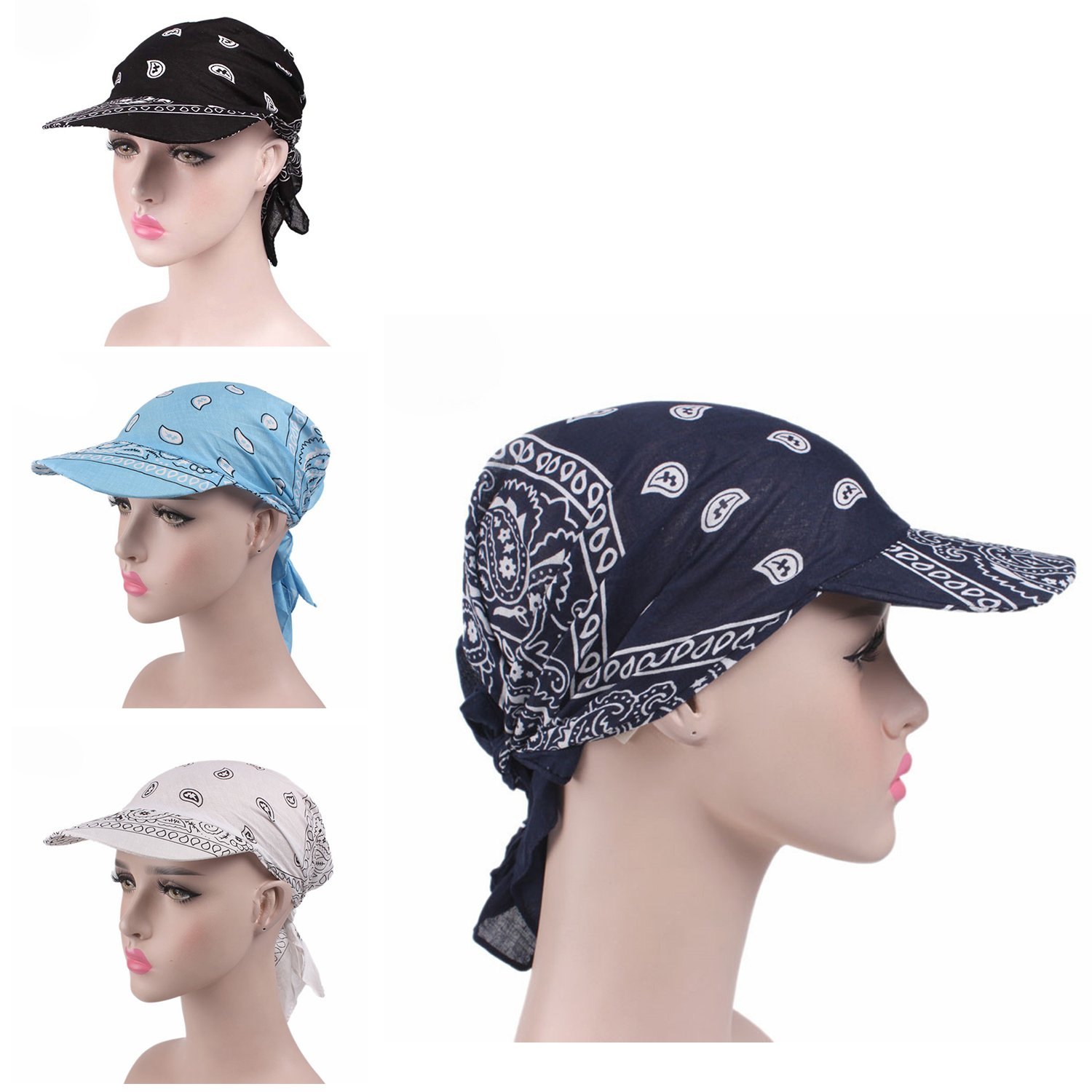 a0fba9160e5 6 Colors Womens Chemo Cancer Head Scarf Hat Summer Folding Anti-UV Golf  Tennis Sun Visor Cap (3 Colors Hat-A1) at Amazon Women s Clothing store