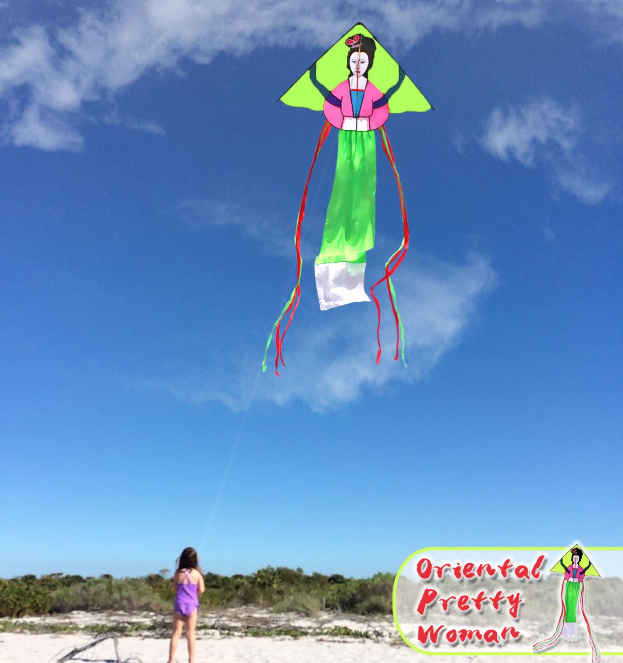HENGDA KITE Oriental Pretty Woman Kites with Flying Line Outdoor Fun Sports Kite