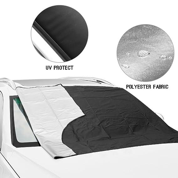 SCM Protector de parabrisas para, Aodoor coche Funda protectora antihielo para parabrisas magnéticos, Antihielo y Nieve Rayos UV Parasol plegable 215 x 125 ...