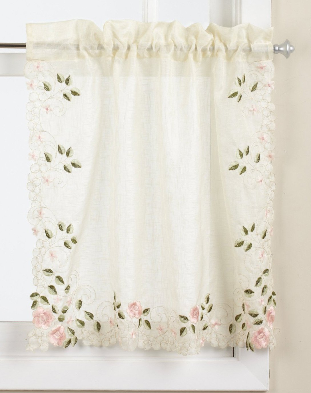 Lorraine Home Fashions Rosemary Tier Curtain Pair, 58 by 36-Inch, Rose
