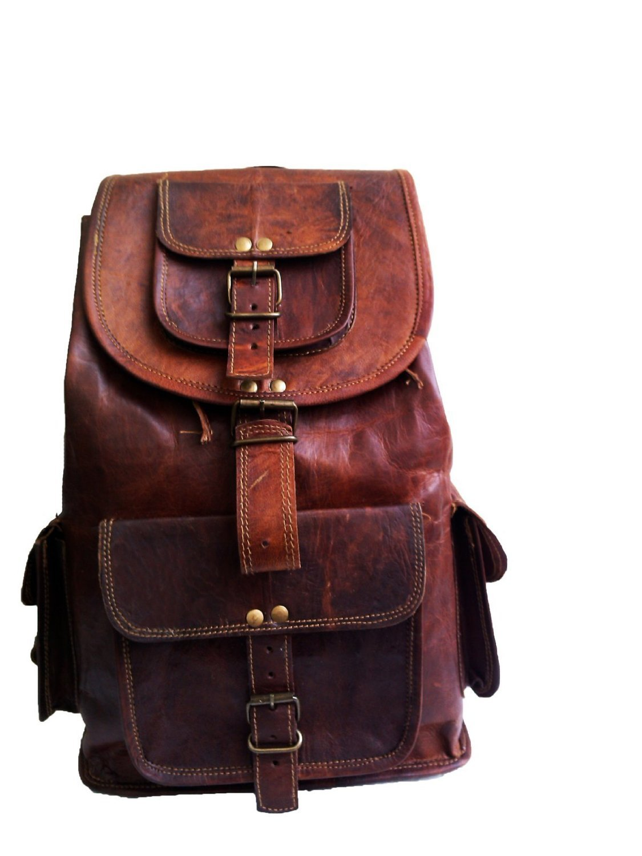 18' Genuine Leather Retro Rucksack Backpack College Bag, school Picnic Bag Travel Jaald .