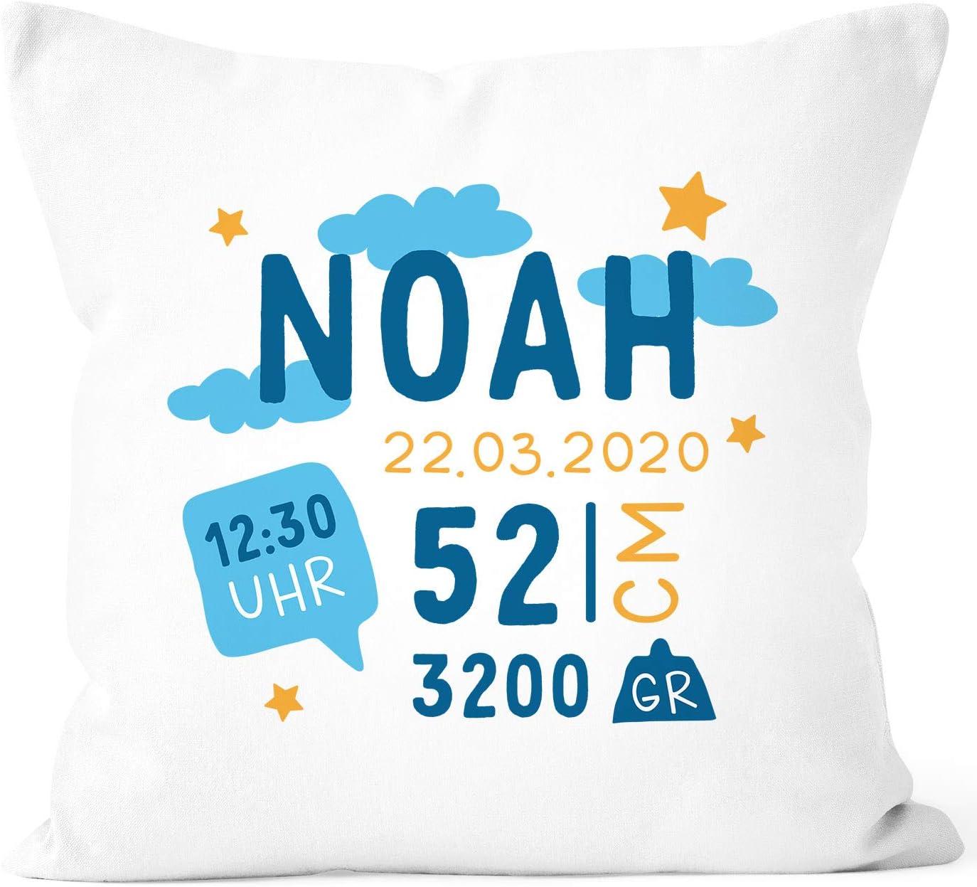 SpecialMe/® personalisierbare Kissen-H/ülle zur Geburt mit Wolken Sternen Geburtskissen Namenskissen Geschenk Geburt Baby Jungen wei/ß Unisize