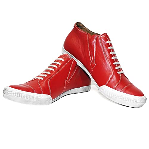 a2b4dff0c6c8 Modello Rednoise - US 7 - Handmade Italian Leather Mens Color Red Fashion  Sneakers Casual Shoes