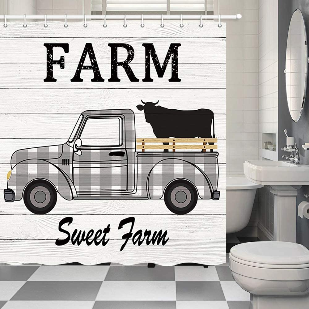 Rustic Black and White Plaids Farmhouse Cattle Truck Shower Curtain, Vintage Western Sweet Farm Animals Cow with Retro Truck Car on Vintage Wooden Bathroom Shower Curtain Decorations, (69