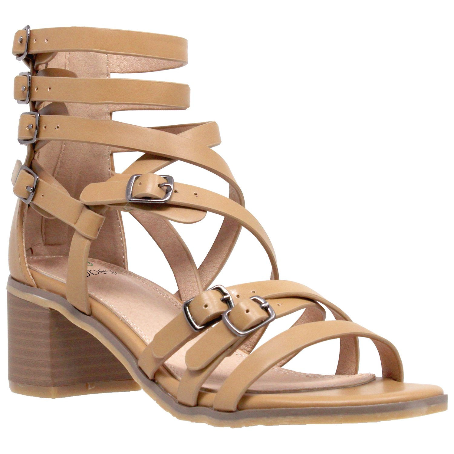 3433a58c0df Womens Dress Sandals Strappy Buckle Accent Block Low Heel Gladiators Tan SZ  7