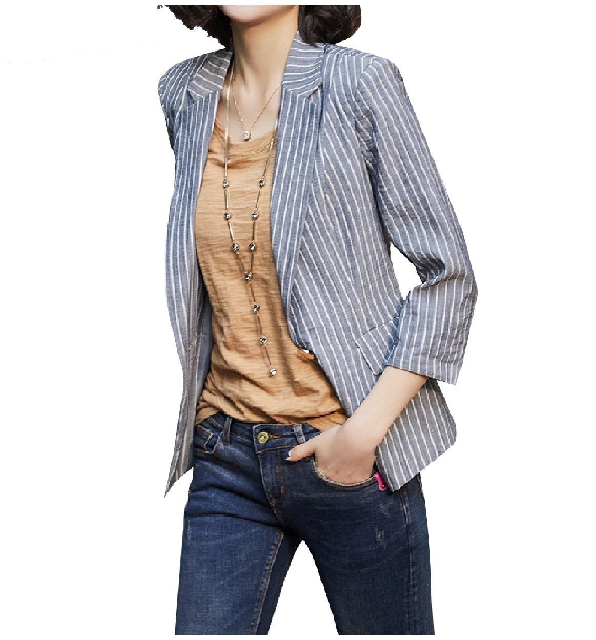 Tootless-Women Retro Stripes Notch Collar Blazer Fine Cotton Suit Coat Blue XL