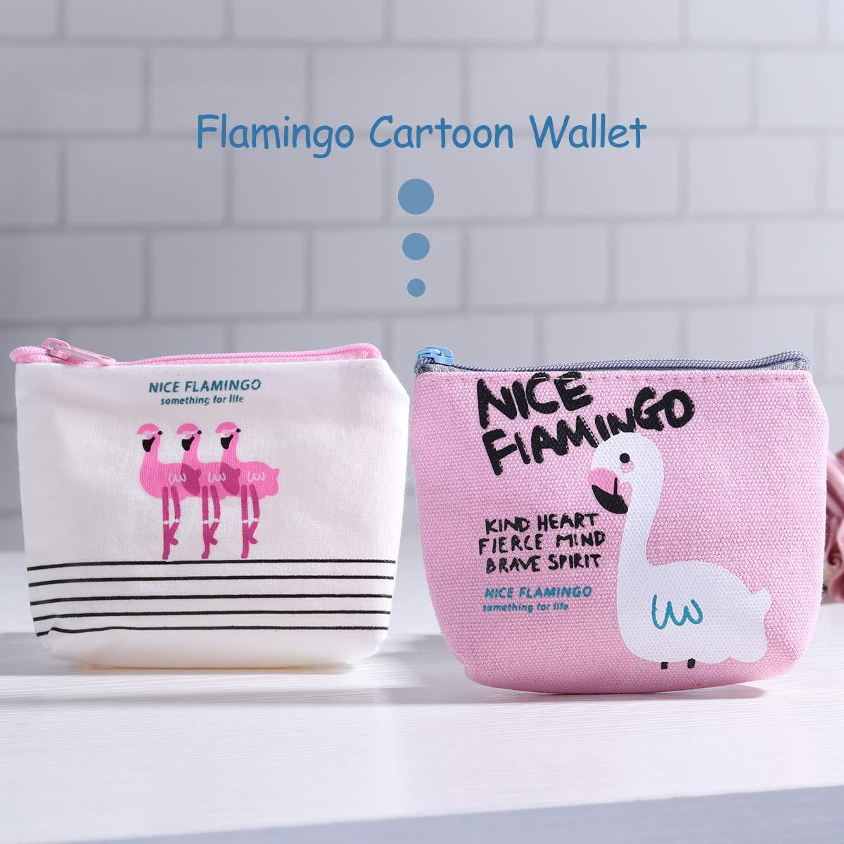 4Pcs TOYMYTOY Flamingo Wallet Cute Cartoon Flamingo Canvas Coin Purse Zipper Wallet Coin Bags