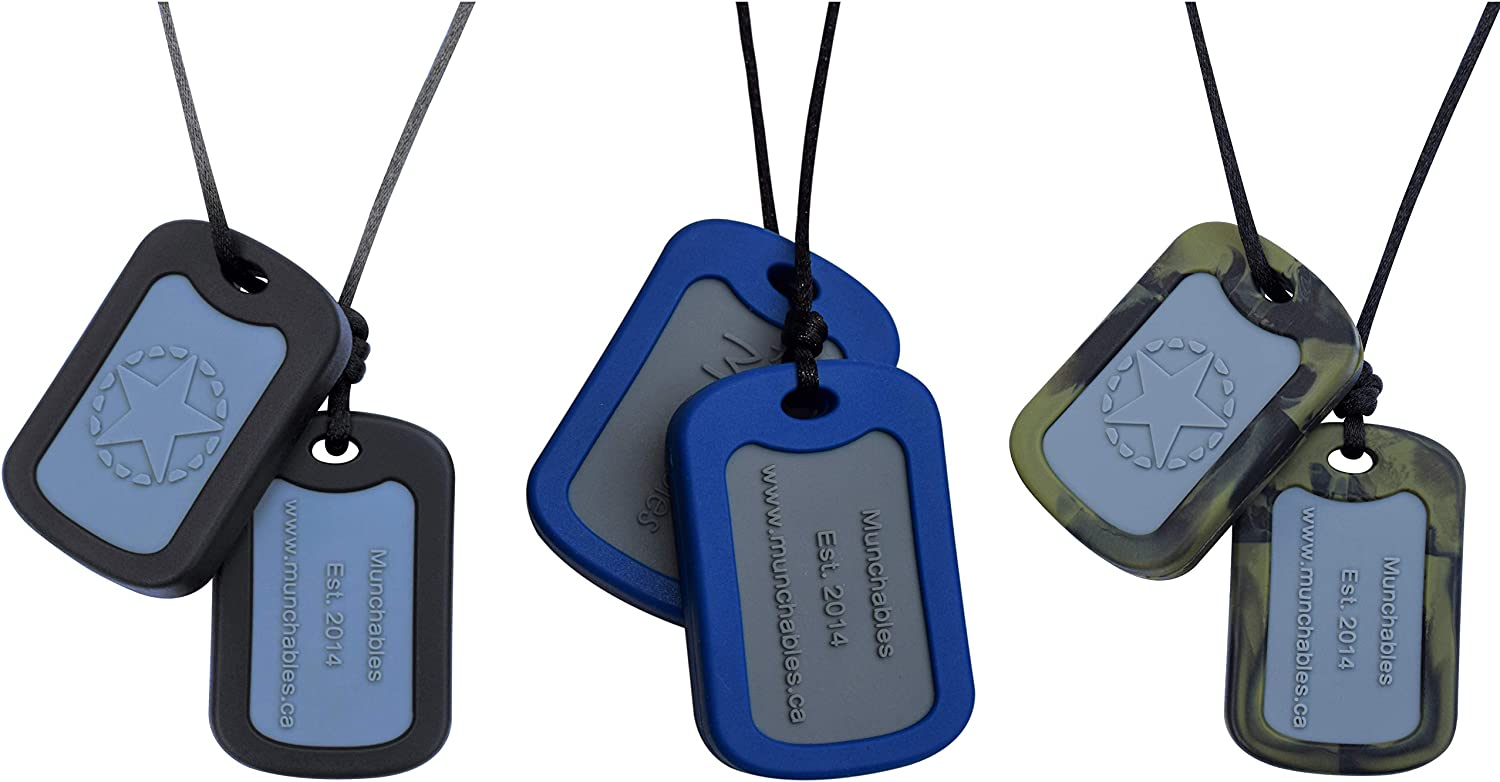 Munchables Chewable Dog Tags - Sensory Chew Necklace for Boys (Set of 3)