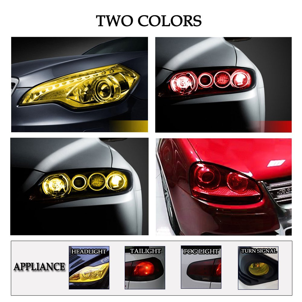 1797 Car Light Tint Film Headlight Fog Light Taillight Red Tinted Vinyl Tail Back Color Sticker Self Adhesive Shiny Chameleon Accessories Parts 48x12 1pc