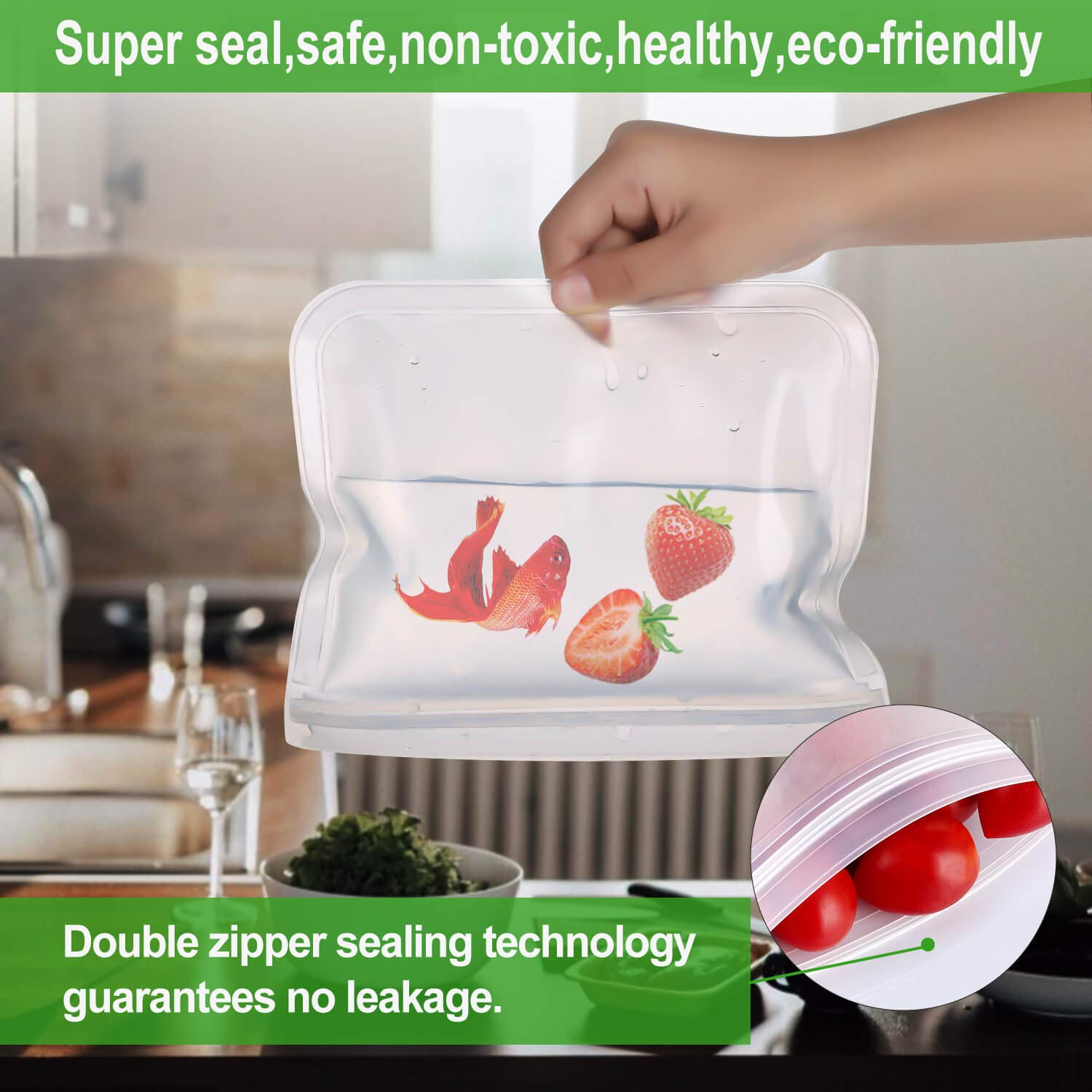 Reusable Storage Bags for Food - 12Pack Leakproof Freezer Safe Bag (6 Reusable Sandwich Bags & 6 Reusable Kids Snack Bag), BPA Free Ziplock Lunch Bag for Travel Home Organization