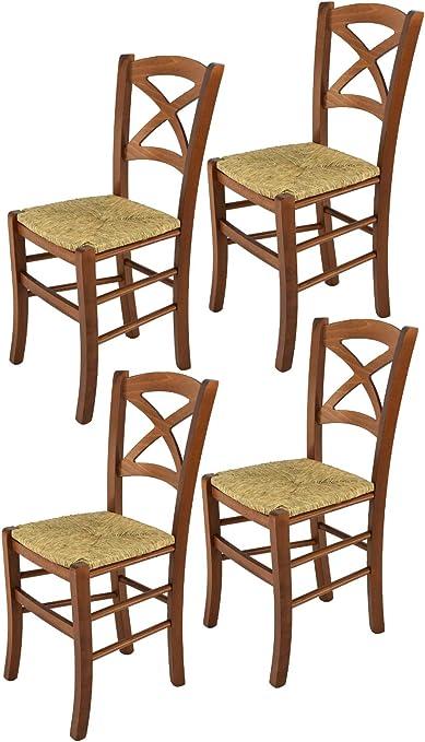 Set de 2 Sillas Venezia de Cocina Bar y Restaurante Comedor con Asiento en Paja con Estructura en Madera Color Nuez Tommychairs sillas de Design