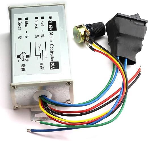 Controlador de velocidad del motor DC9-60V DC Controlador de velocidad del motor DC Brush 30A PWM Regulador de velocidad del motor el/éctrico ajustable Regulador de velocidad del motor