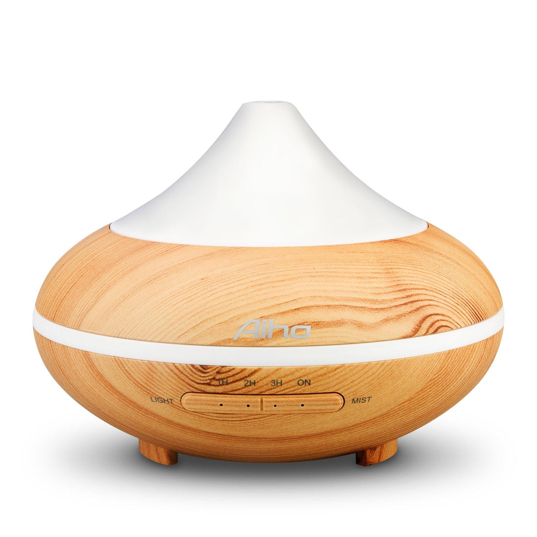 Difusor Aceites Esenciales Aiho 200ML 5-IN-1 Humidificador Ultrasónico Aromaterapia Silencio 7 color Luz Nocturna 4 Ajustes de Tiempo Para Hogar Oficina Dormitorio Baño Yoga Spa