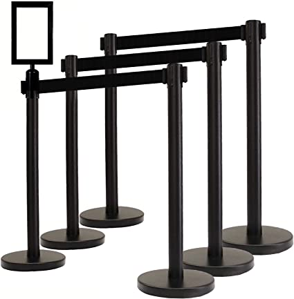 Black 40 Crowd Control//Guidance Stanchion with Dual 84 Black Retractable Belt Black Easy Connect Assembly