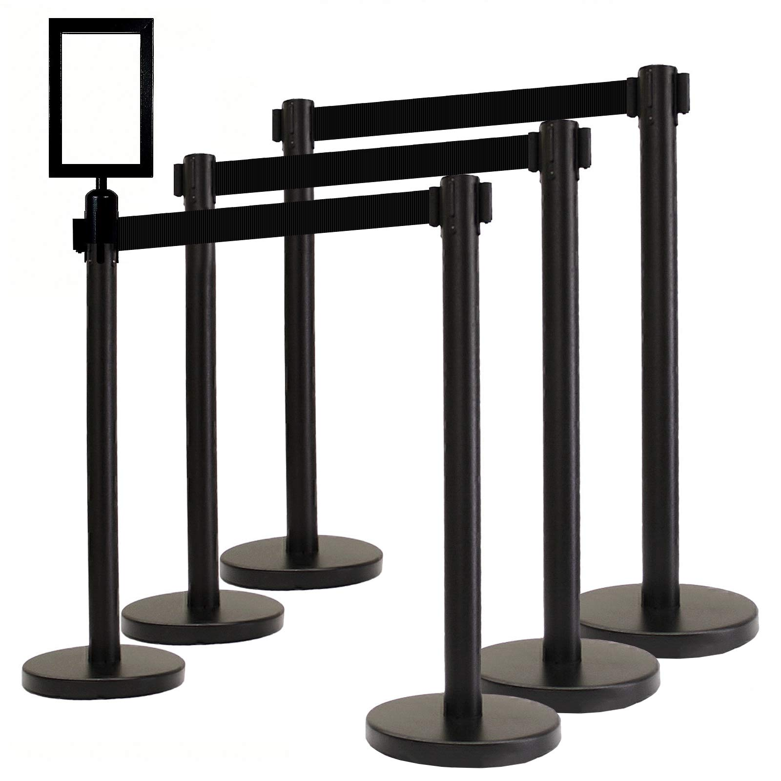 VIP Crowd Control Retractable Belt Queue Safety Stanchion Barrier Set, 36'' Ht, 78'' Black Belt + Wall Bracket (6 Posts Belt+SFrame+WBracket) by Crowd Control Center