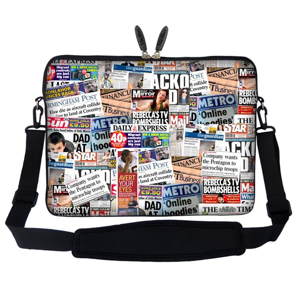 Meffort Inc 17 17.3 inch Laptop Sleeve Bag Carrying Case with Hidden Handle and Adjustable Shoulder Strap - Blue Dragon Design ZStrap2735