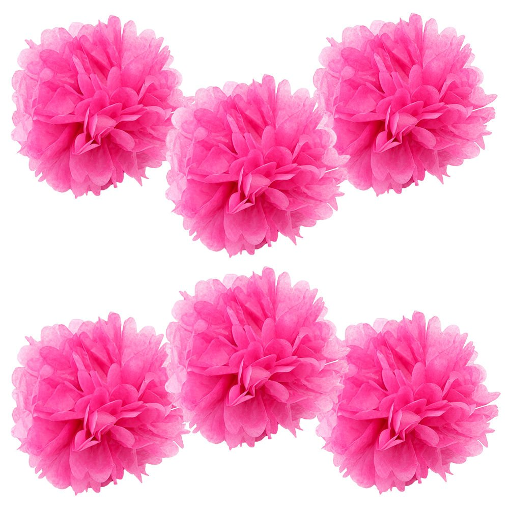 WYZworks Set of 6 - FUCHSIA 16'' - (6 Pack) Tissue Pom Poms Flower Party Decorations for Weddings, Birthday, Bridal, Baby Showers, Nursery, Décor