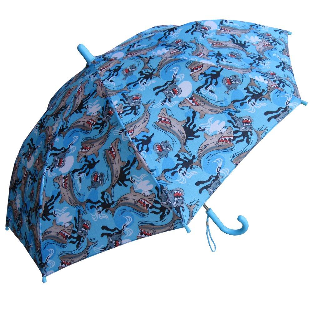 RainStoppers Boy's Shark Print Umbrella, 34-Inch