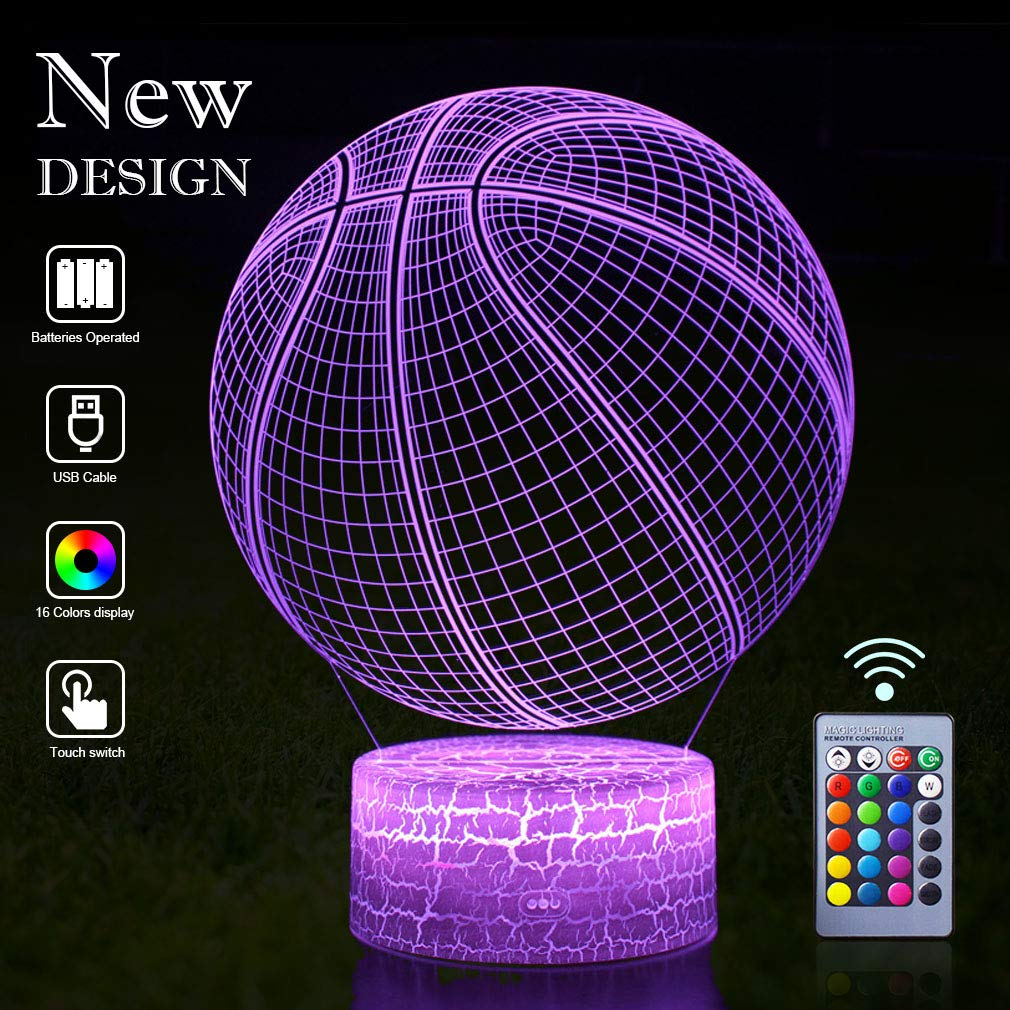 Basketball Lamp Remote Control 3D Vision Effect LED RGB Night Lights of Guidance Bedroom Desk Table Lamp Decor Birthday Christmas Gift Choices for NBA Lovers Kids Boys Teen(Basketball(Remote))