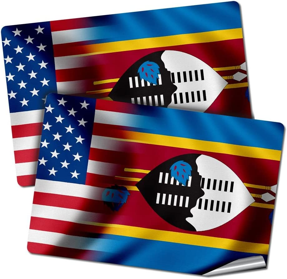 "ExpressItBest Two 2""x3"" Decals/Stickers with Flag of Swaziland - Waves w USA Flag - Long Lasting Premium Quality"