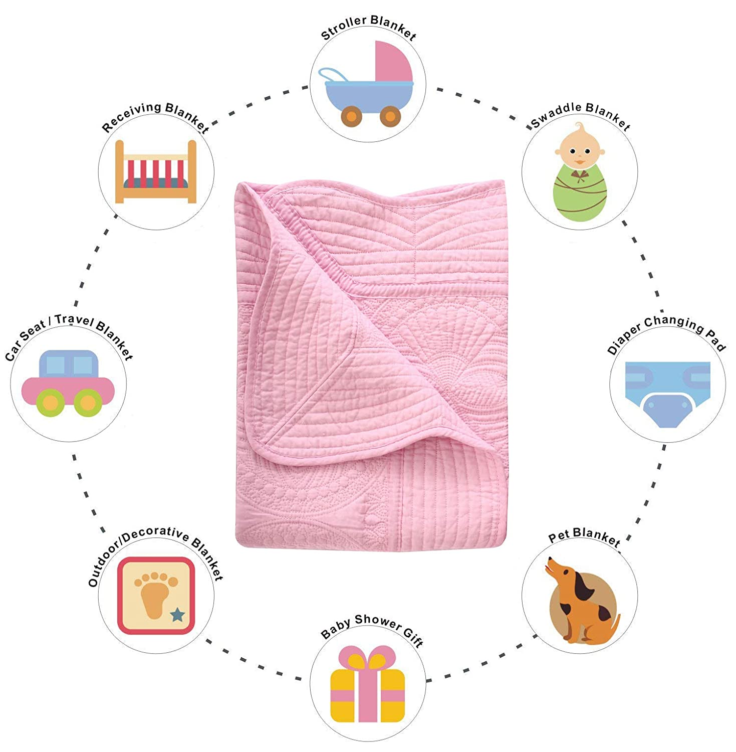 Lightweight Personalized Babies Toddlers Embossed Detail Cotton Quilt Pink