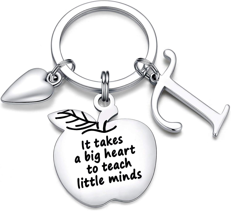 Ursteel Teacher Keychain with Initial, Teacher Application End of Year Teacher Gifts