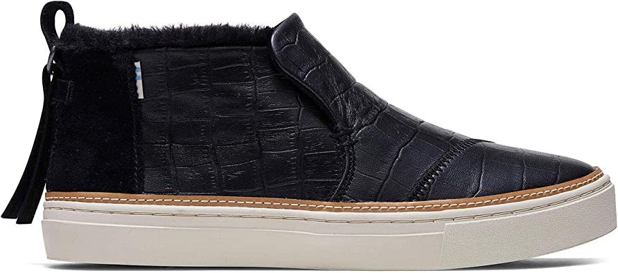 TOMS Black Croc Embossed Leather Faux