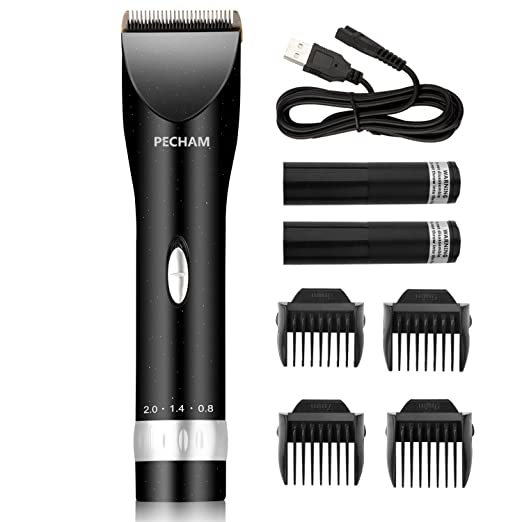 PECHAM Professional Cordless Hair Clippers Set Low Noise USB Rechargeable Hair Cutting with 2 Batteries and 4 Comb for Men, Kids, Dog, Cat and Pet Grooming Clipper