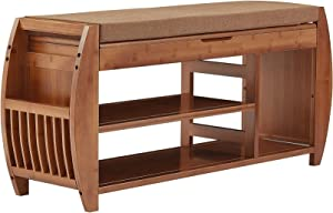 Bamboo Shoe Rack & Shoe Bench, Entryway Storage Organizer, Multi Function for Hallway Bathroom Living Room Corridor and Garden, Detachable Cushion with Hidden Storage Compartment