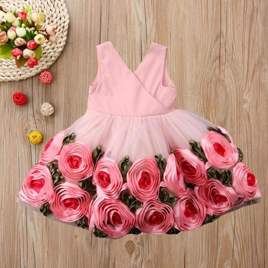 KONFA Teen Toddler Baby Girls Roses Print Sleeveless Dress,Little Princess Party Floral Skirt Clothing Set
