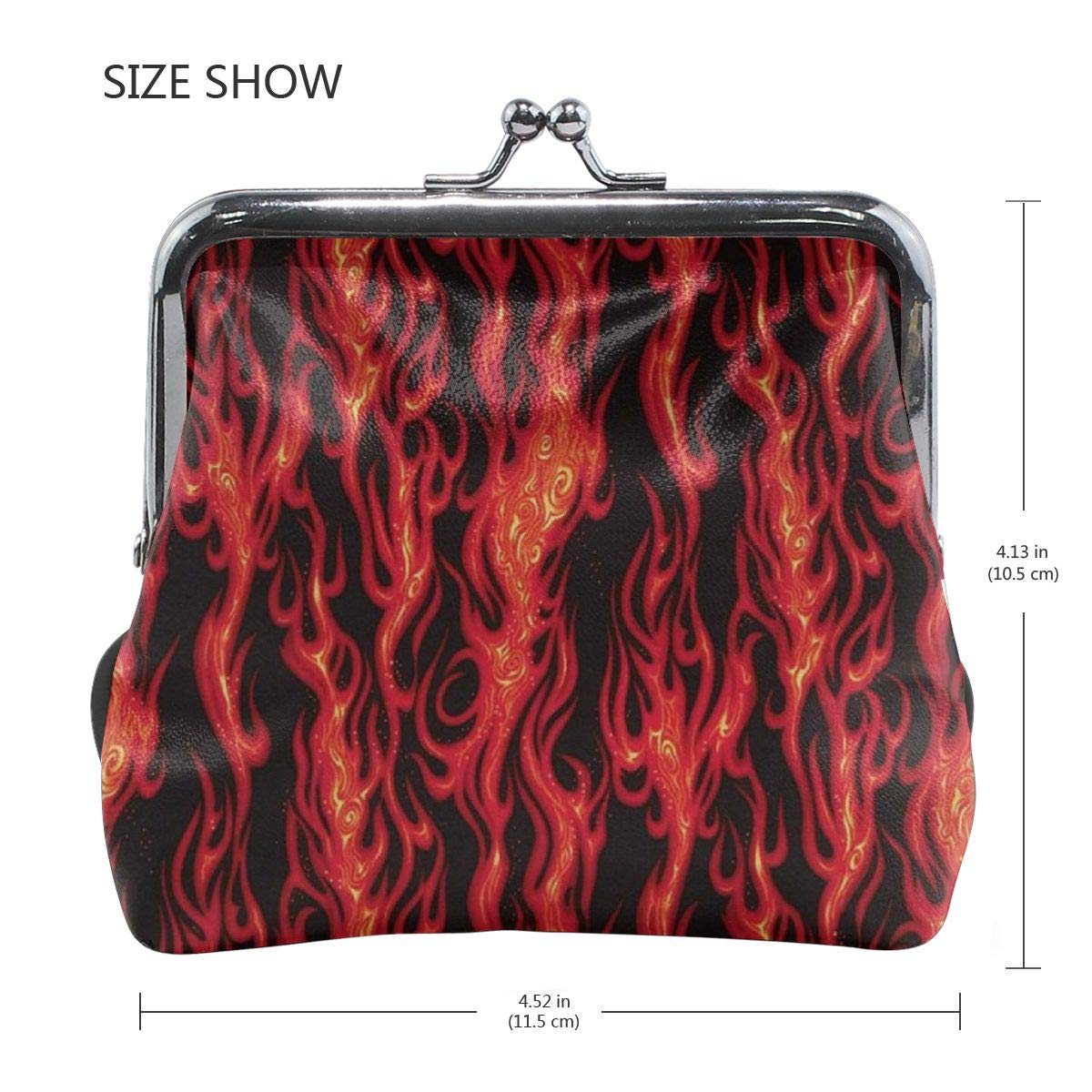 TYDhey Movin On Flame Stripe Black Classic Buckle Coin Purses Leather Kiss-Lock Change Wallets