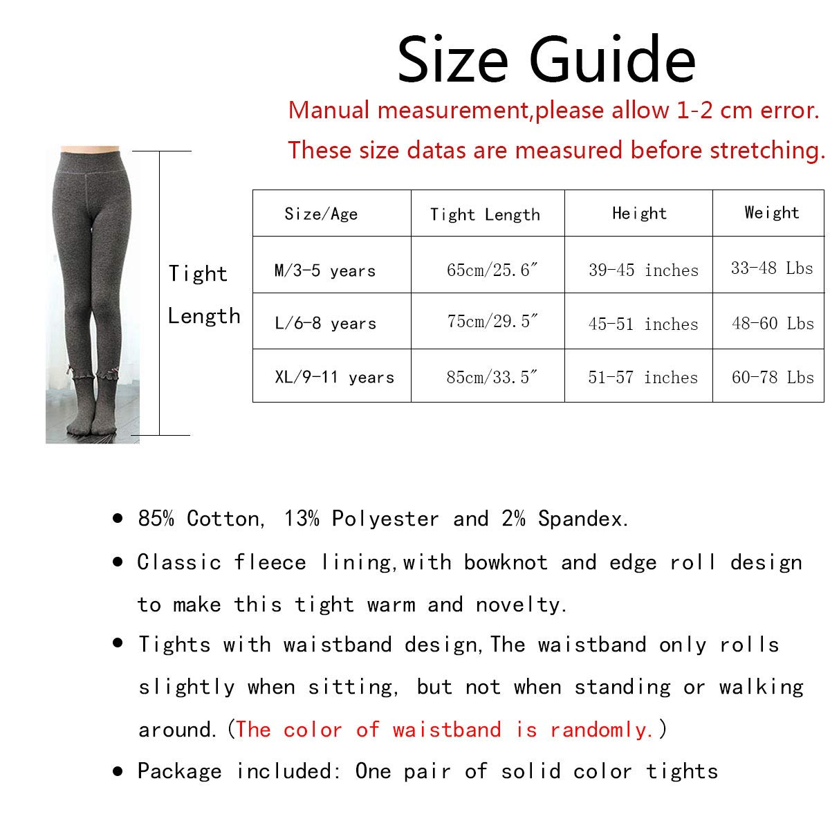 Rallytan Girls Tights Winter Warmer Thick Curling Bowknot Footed Pantyhose