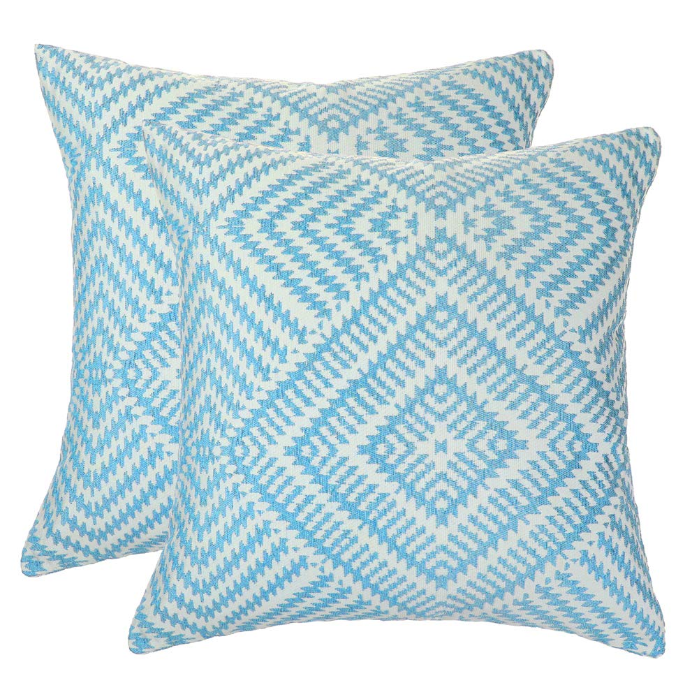 Blue, 18x18 inches Cushion Cover Set of 2 Gray Home Decor Square Throw Pillow Covers Cushion Cover for Couch Euro Sham Cushion Sham Super Luxury Soft Pillow Cases Double-Sided Embroidery