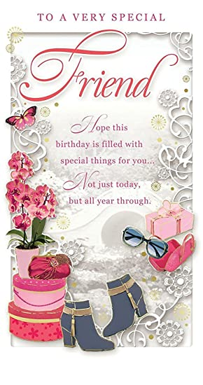 Special Friend Birthday Card - Happy Birthday Orchid, Boots & Present 9