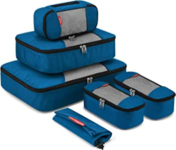 Travel Packing Cubes, Luggage Organizers L+M+3XS+Shoe Bag Deep Blue