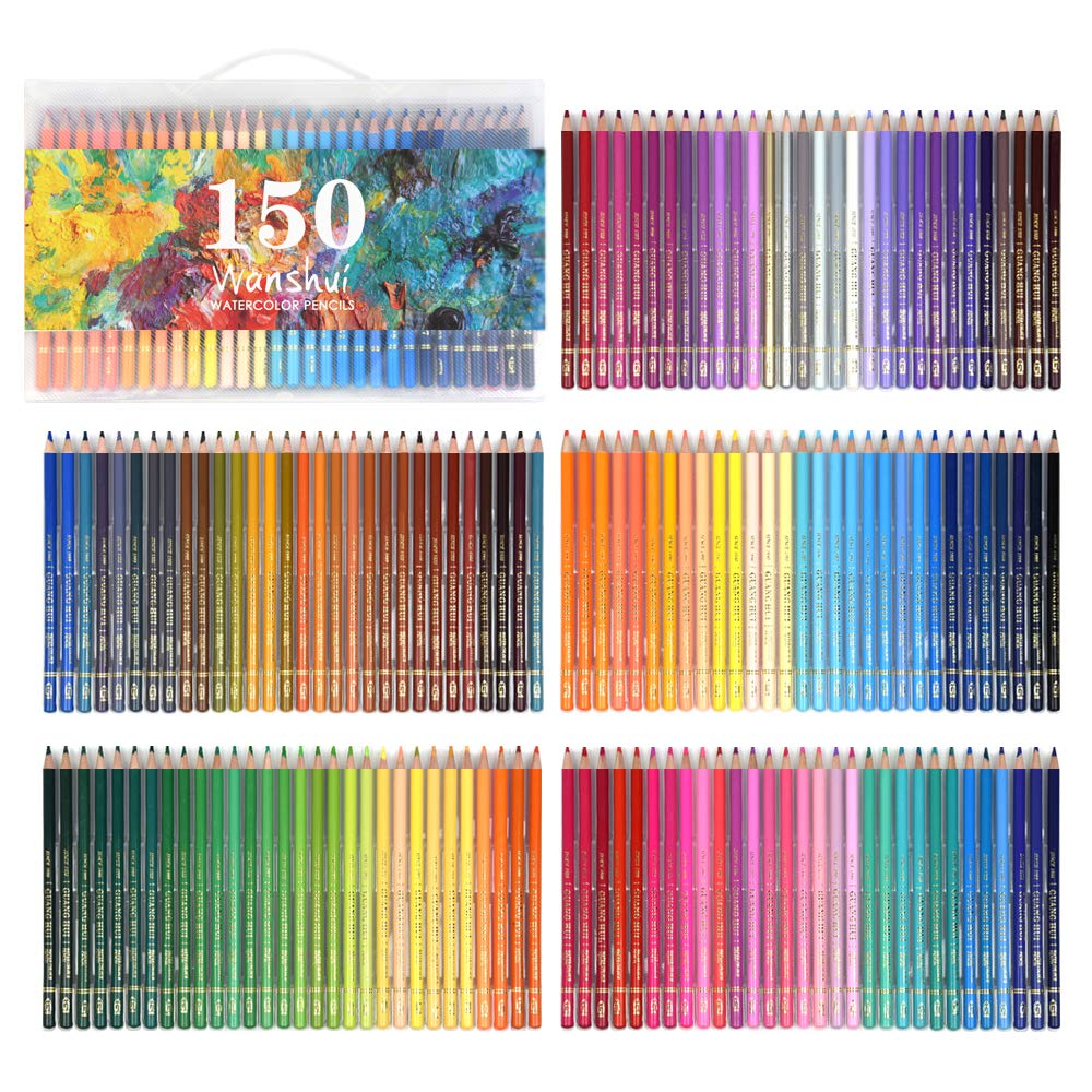 Professional Watercolor Pencil Set 150 Count Art Supplies for Coloring, Drawing, Shading Pre-Sharpened, Fine Point Lead Nontoxic, Water Soluble by Wanshui