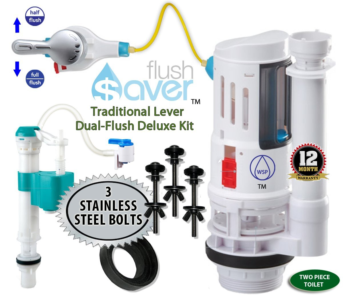 FlushSaver STANDARD FLUSH HANDLE Dual-Flush Deluxe DIY Conversion Kit - FITS STANDARD 2'' DRAIN TWO PIECE TOILETS. Converts standard toilets into efficient dual-flush systems. STAINLESS STEEL 3 BOLTS UPGRADE