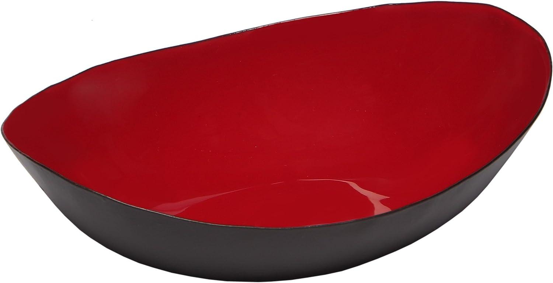 Melange Home Decor Modern Collection, 8-inch Boat Bowl, Color - Paprika Red