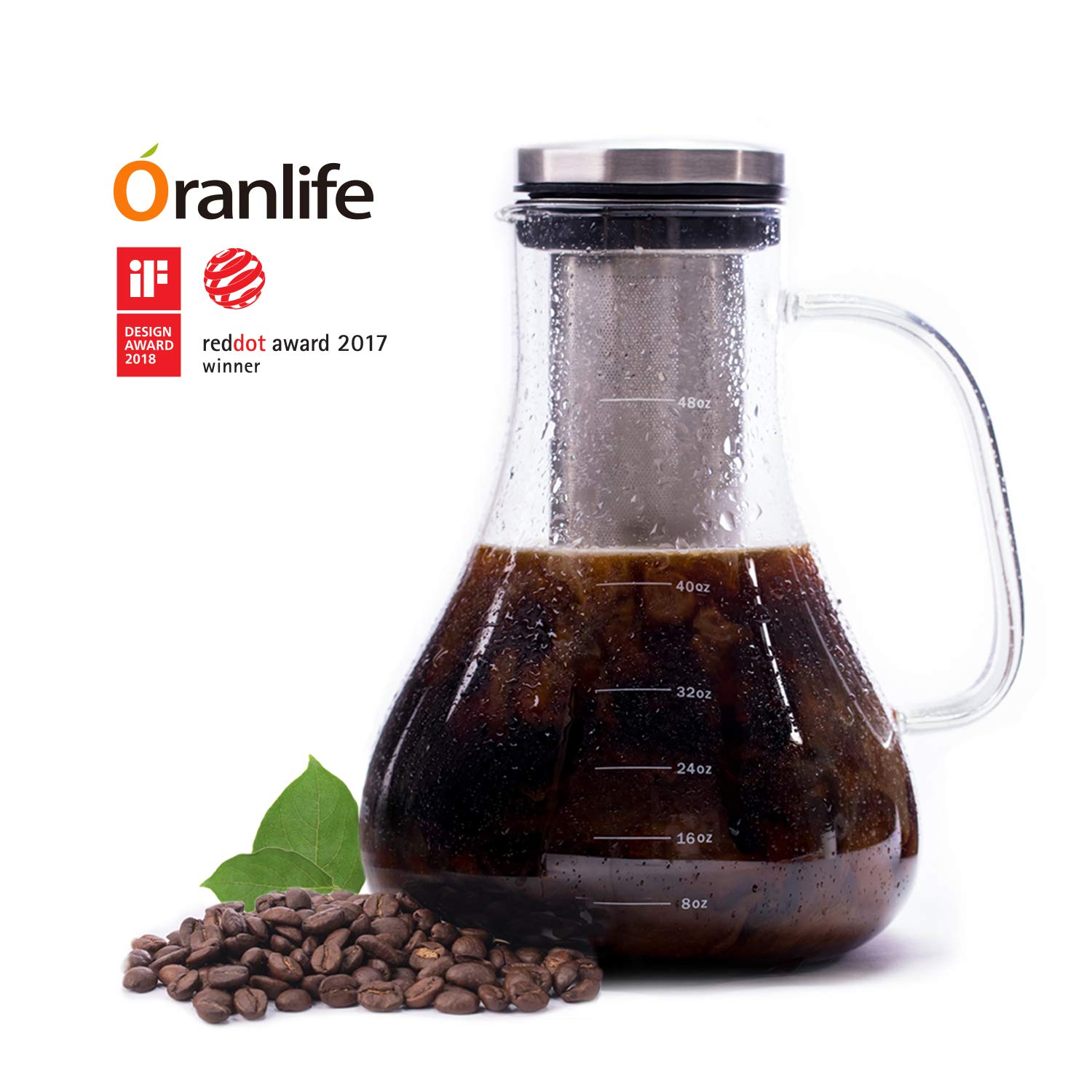 Cold Brew Bottle Coffee Maker Kit with Sleeve for Iced Coffee Tea Pitcher Glass Carafe with Family Edition Deep Removable Stainless Steel Filter and Airtight Lid Infuser Water Bottle 1.5 L 6 cup