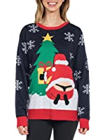 Tipsy Elves Women's Winter Whale Tail Sweater - Funny Santa Ugly Christmas Sweater