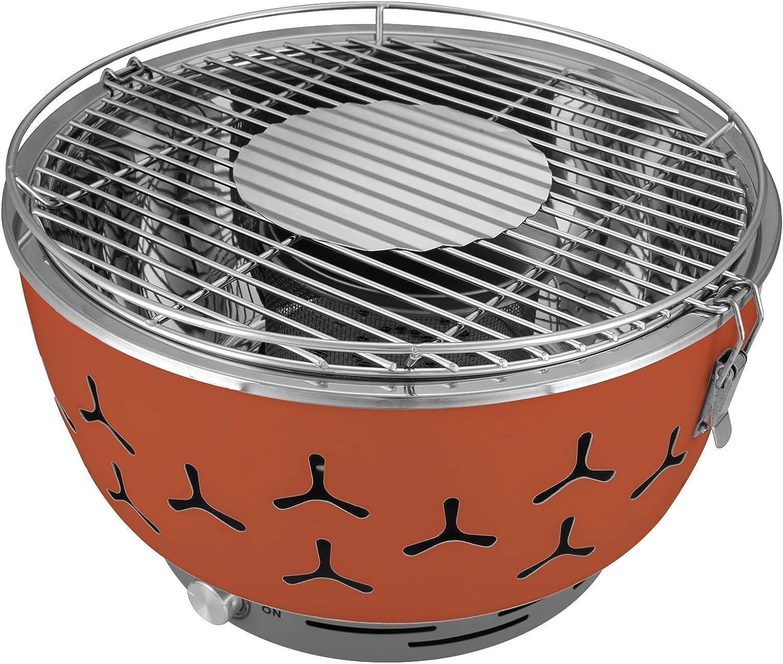eSituro Barbacoa de Carbón Vegetal sin Humo 35x35x24cm Barbacoas de Acero Inoxidable Portátiles con Bolsa de Transporte Mini Barbacoa para Jardín Exterior, BBQ, Camping Naranja