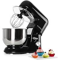 Klarstein Bella Nera • Robot de cuisine • Pétrin • Puissance max. 1200 W • Vitesse réglable à 6 niveaux • Bol en inox 5,2 L • Crochets et fouets divers • Noir