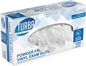 Disposable Vinyl Gloves - Non Sterile, Powder Free, Latex Free - Examination Gloves, Cleaning Supplies, Kitchen and Food Safe - Ambidextrous - by Turba (X-Large, 1 Box - 100 Count)