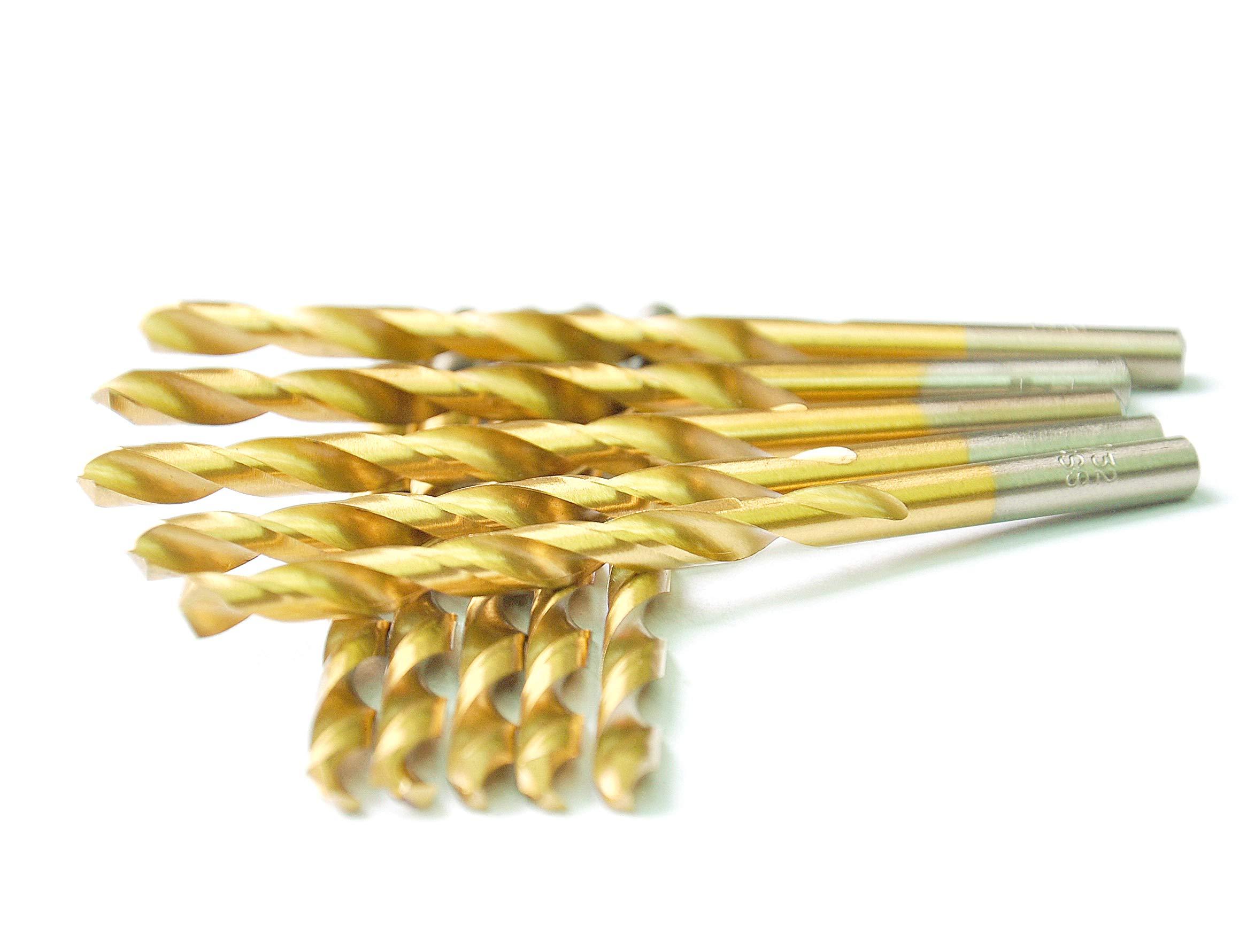 DRILLFORCE HSS Jobber Length 10 PCS,3/16'' x 3-1/2''Titanium Coated Twist Drill Bits, Metal drill, ideal for drilling on mild steel, copper, Aluminum, Zinc alloy etc. Pack In Plastic Bag (3/16)