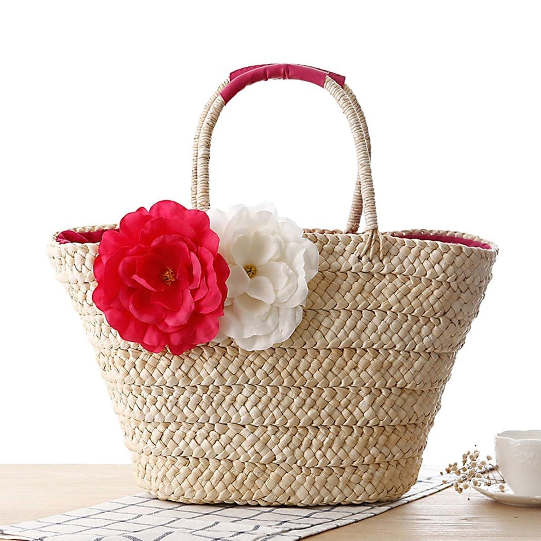 FAIRYSAN Women Summer Straw Shoulder Bag Woven Shopping Basket Tote Bag Large